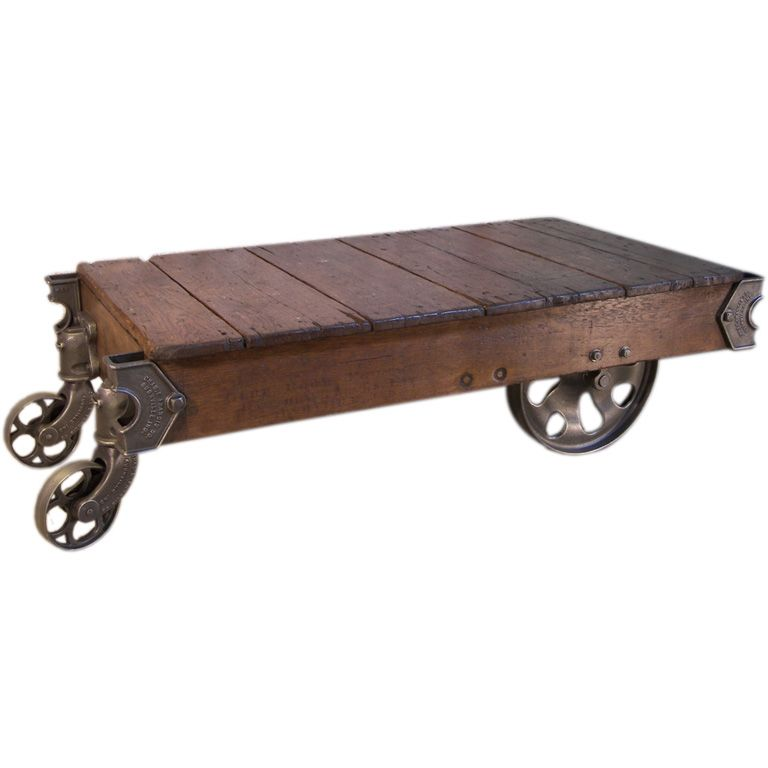 Vintage Industrial Iron Transfer Cart Coffee Table: Vintage Industrial Cast Iron & Wood Rolling Table / Cart