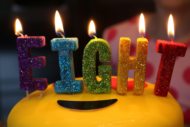 8th Birthday Party City Fun Candles Rainbow Roy G Biv Light It Up Cake
