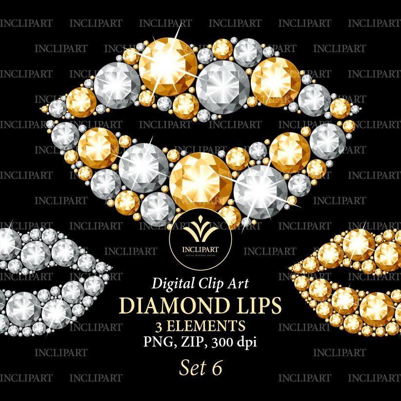 Diamond Lips Clipart Yellow Gold And White Diamond Etsy Rhinestone Lips Clip Art Lips