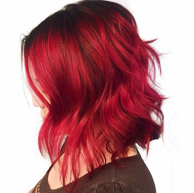 Beautiful Red Shadow Root Vivid Textured Angled Bob Hair By Chellsiedanielle Red Roots Hair Red Hair Dark Roots Roots Hair