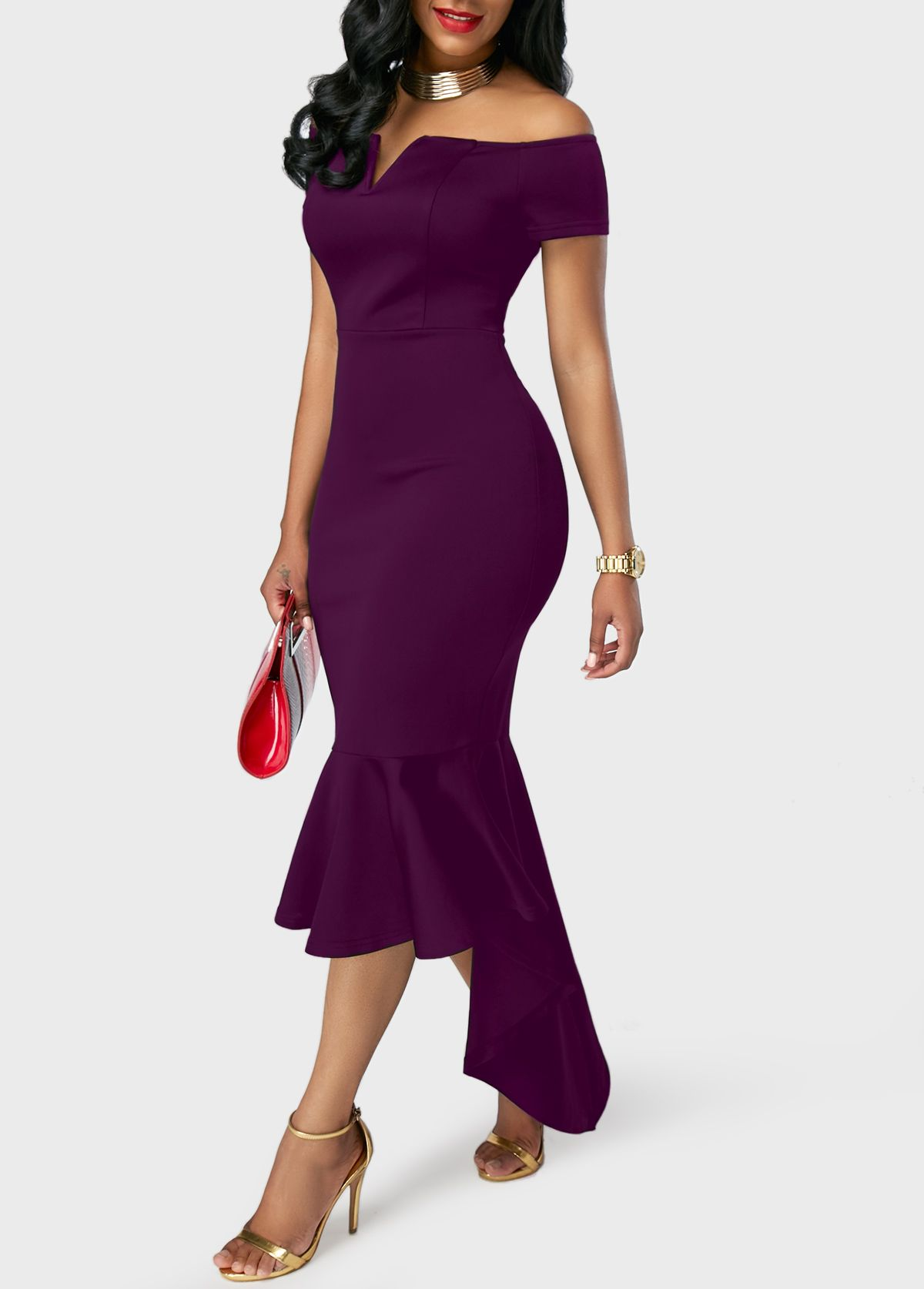 7624e13ec2ac Peplum Hem Split Neck Purple Bardot Dress