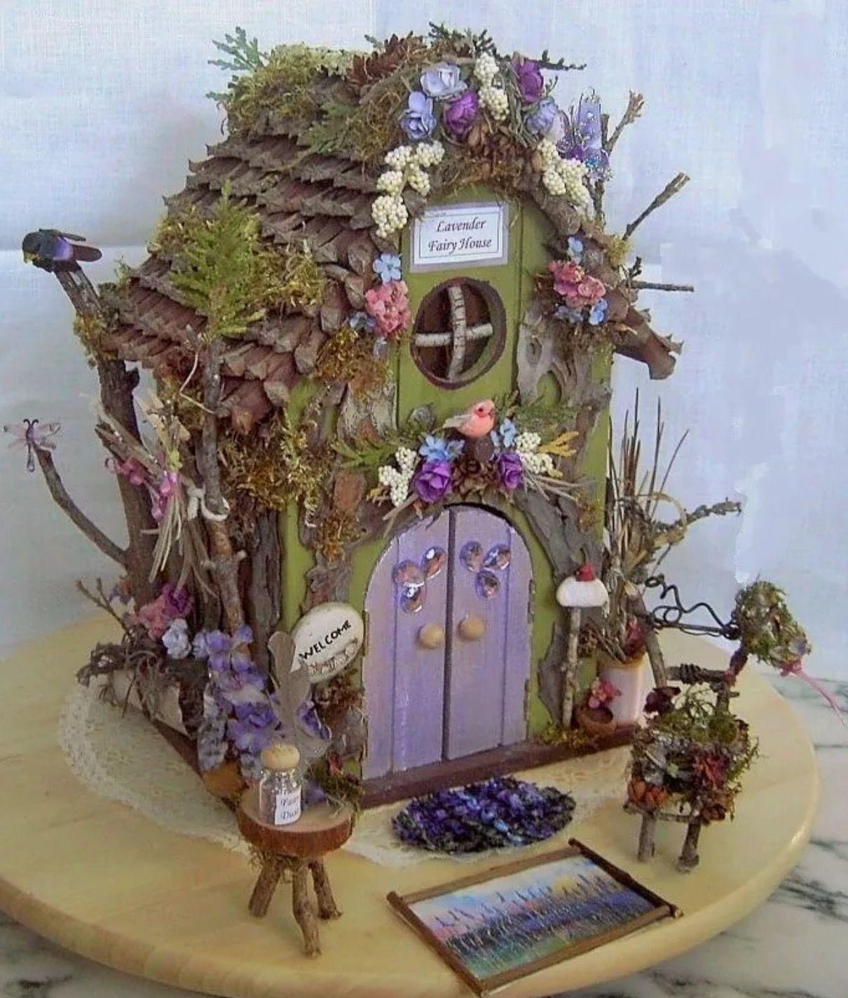 Fairy Garden Miniature Real LAVENDER Purple Flower WOOD FAIRY HOUSE/  Furniture ~ $225 EBay: