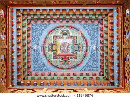 Tibetan mandala painting on monestery ceiling, Upper Pisang, Nepal