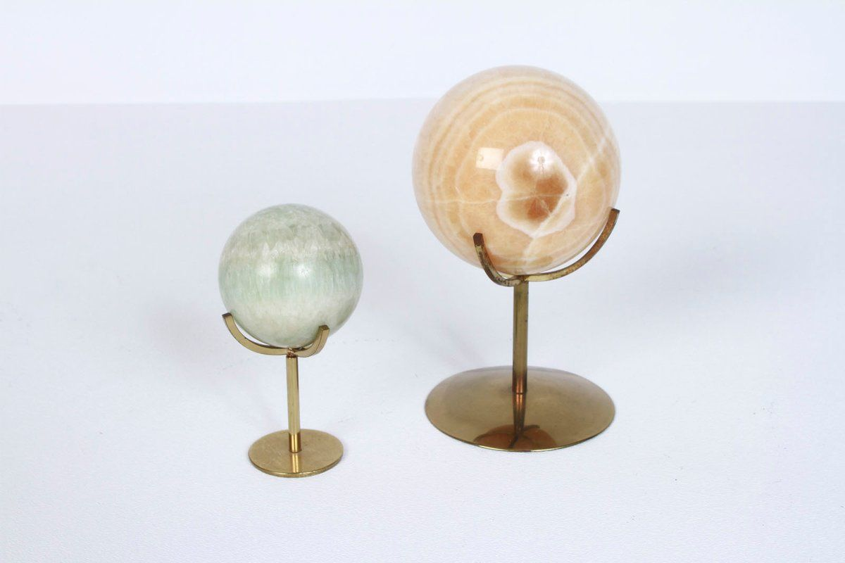 Pair of Marble Orbs w/ Brass Stands Origin: Unknown Period: Circa 1970's Materials: Marble, Brass Condition: Very Good Condition consistent...