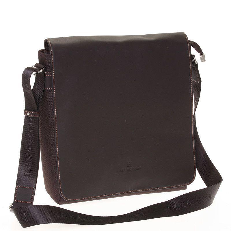 Stylová hnědá pánská polo-kožená taška Hexagona na formát A4 ve hnědém  provedení. Uvnitř ef22cd915fe