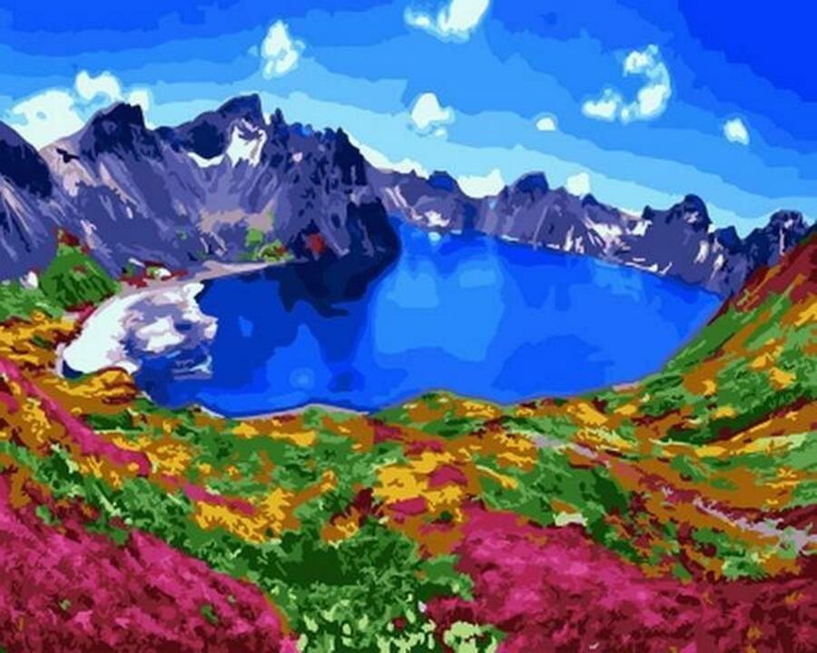 Van-Go Paint-By-Number Kit N.Korea Bekdu Heaven Lake on top of Mt