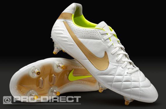 Nike Football Boots - Nike Tiempo Legend IV SG -Soft Ground - Soccer Cleats  - White-Gold Size 10 US d66d860490153