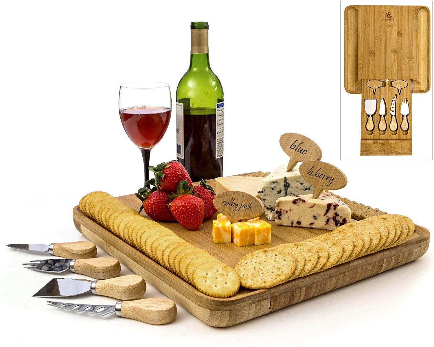 AmazonSmile | Bamboo Cheese Board Set Serving Tray Platter with Cutlery Set and Slide-out  sc 1 st  Pinterest & AmazonSmile | Bamboo Cheese Board Set Serving Tray Platter with ...
