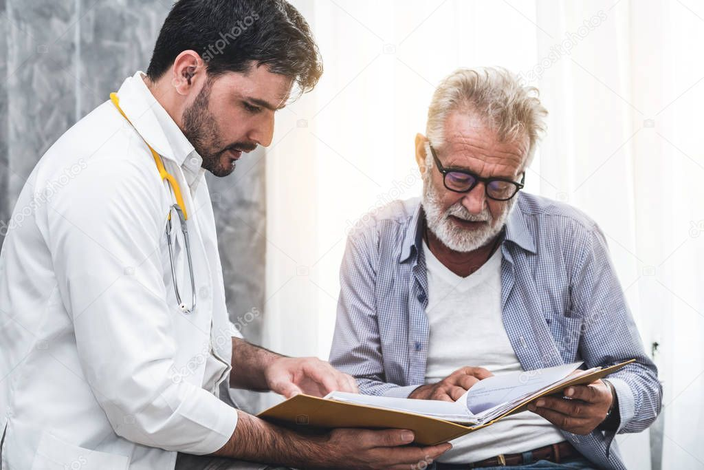 Senior patient visits doctor at the hospital  Stock Photo