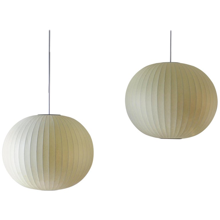 Pair of Vintage Nelson Round Bubble Pendant Lights