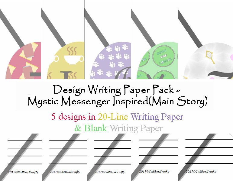 Mystic Messenger Inspired(Main Story) - Design Pack - Printable - lined paper print out