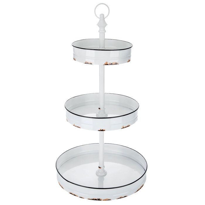 White 3 Tier Metal Tray Stand Metal Trays Tiered Decorative Storage