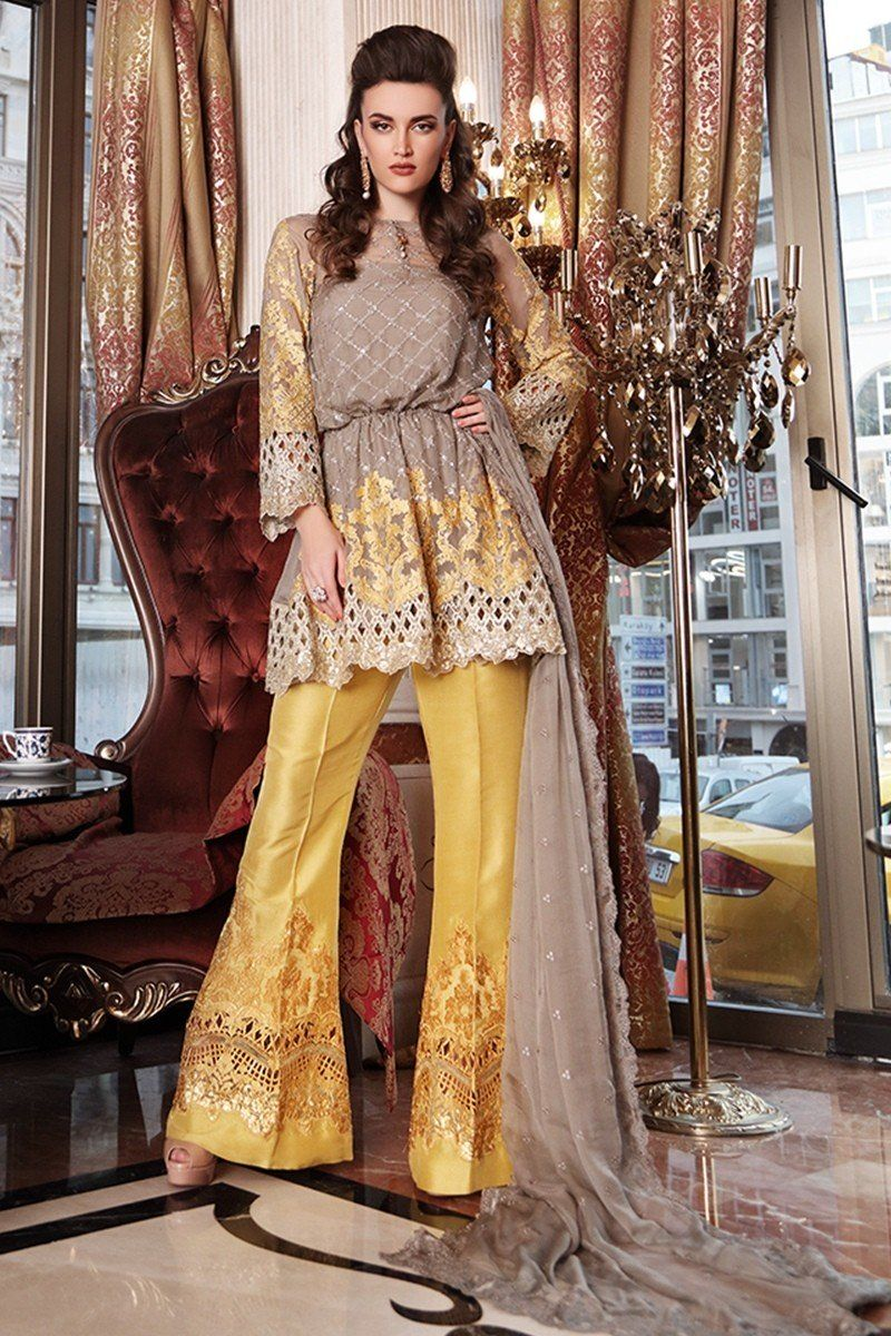 2f3f2d16c04 Maria B BD-902 Grey Mustard Mbroidered Wedding Edition 2017 Price in  Pakistan famous brand online shopping