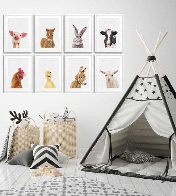 Set Of 8 Farm Animal Nursery Print Bunny Prints Baby