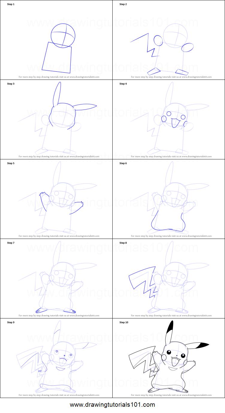 How To Draw Pikachu From Pokemon Printable Step By Step Drawing Sheet Drawingtutorials101 Com Step By Step Drawing Pokemon Sketch Pikachu Drawing