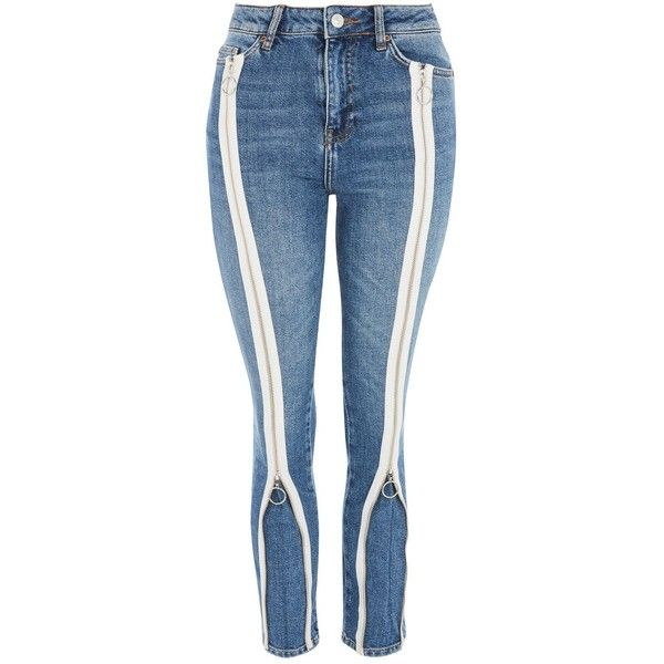 Topshop Moto Mid Blue Zip Straight Leg Jeans (535 SEK) ❤ liked on Polyvore featuring jeans, mid stone, zip fly jeans, topshop straight leg jeans, mid rise jeans, straight leg jeans and blue colour jeans