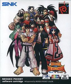 SNK vs. Capcom: The Match of the Millennium - fighting game for the Neo Geo Pocket Color. It features a total of 26 characters from SNK and Capcom, eight of which are hidden. Play options includes 2-fighter tag teams, 3-fighter queue teams, and of course, one-on-one. After that, the player can choose either a Capcom-style level gauge, an SNK-style charge gauge, or a 'neutral' meter that enhances super attacks if full.