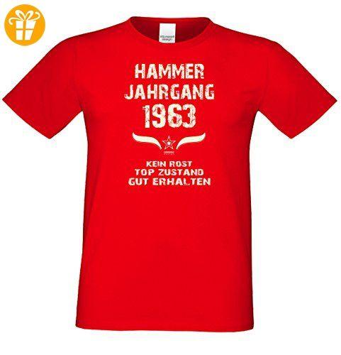Geburtstag - Fun-T-Shirt Mega Cooles Männer-Oberteil als Geschenk mit  Gratis Urkunde Hammer Jahrgang 1963 Farbe: rot Gr: 3XL - T-Shirts mit  Spruch | Lustige ...