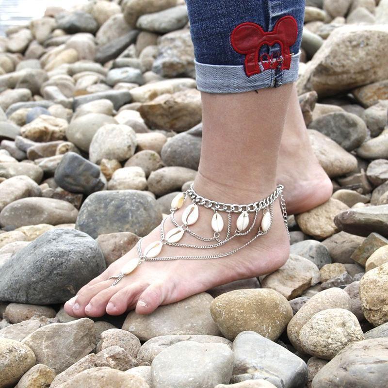 Femmes charme Shell Bracelet Bracelet Sandale Chaîne pied Barefoot Beach Jewelry