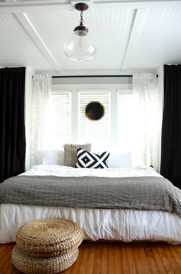 4x8 beadboard panels with mdf trim on the ceiling to cover horrible