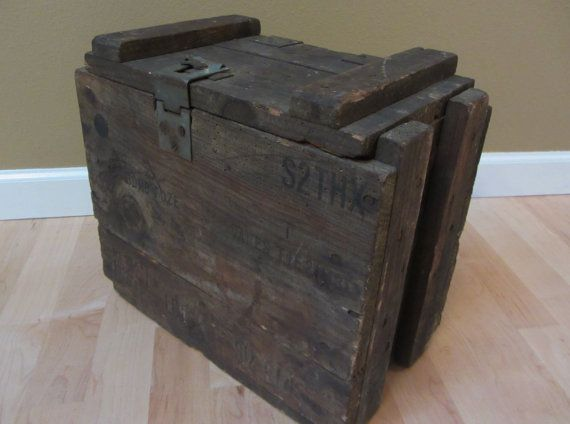 Vintage midcentury Ammo Crate solid wood with metal by