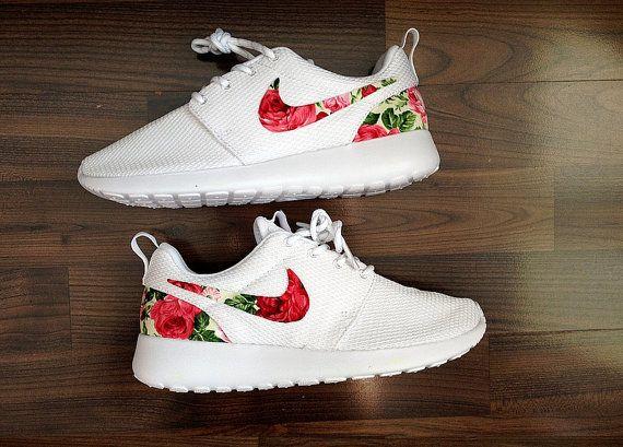 Nike Roshe Run One White Custom Red Floral Design