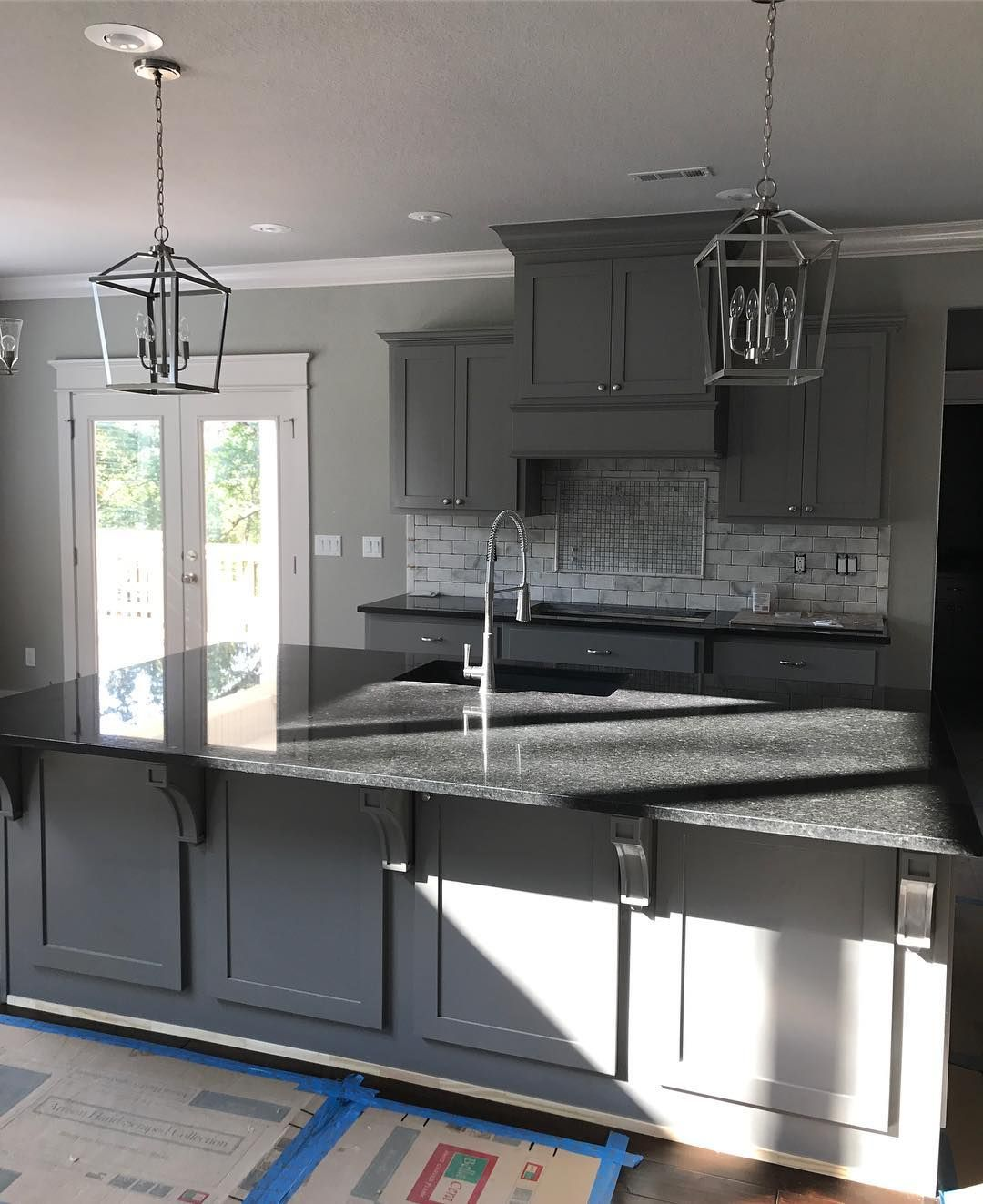 Sherwin Williams Dovetail Kitchen Cabinets With Black Pearl Granite Countertops P Black Granite Countertops White Granite Countertops Backsplash Black Granite