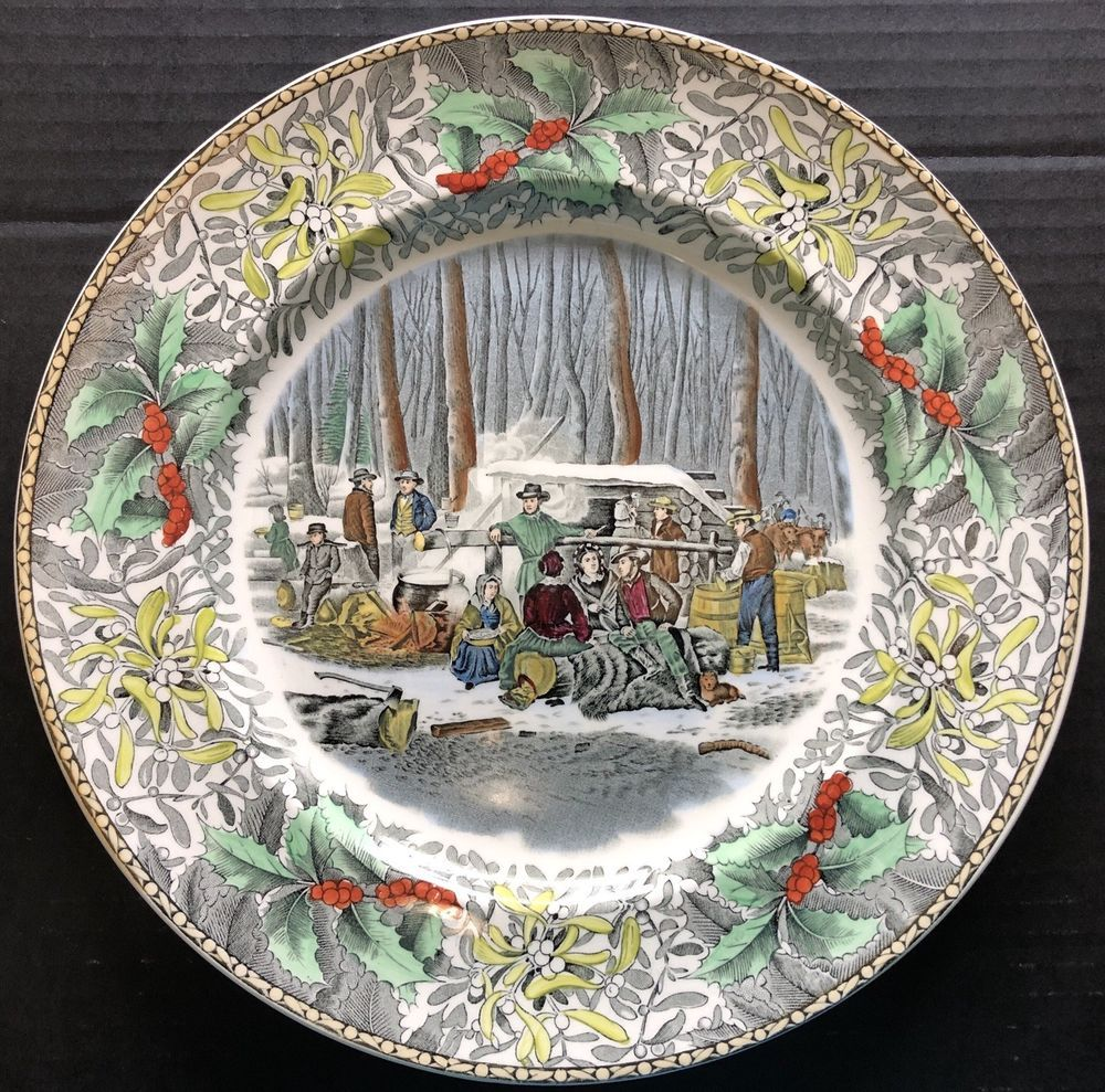 Adams China Winter Scenes N Currier Dinner Plate Maple Sugaring
