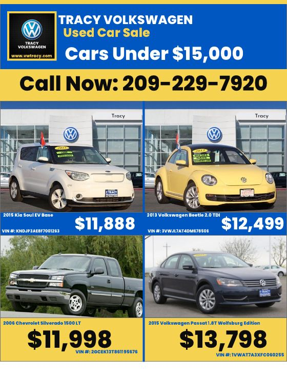 Tracy Volkswagen USED CARS UNDER 15,000 Call Now 209229