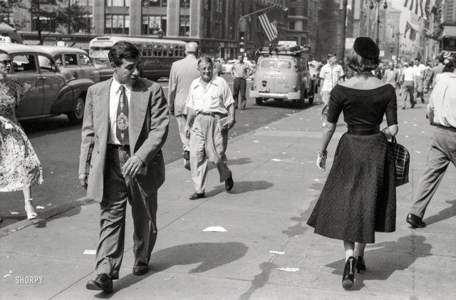 "September 1952 - That passing glance... ""A Young Man's Fancy -- Model on the Street"" [Fifth Ave, New York City, Photo by Ralph Ginzburg for Look magazine]"