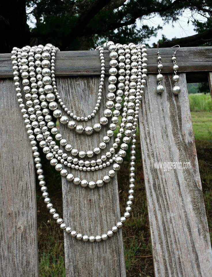 Queen of Silver Multi Strand Necklace Set