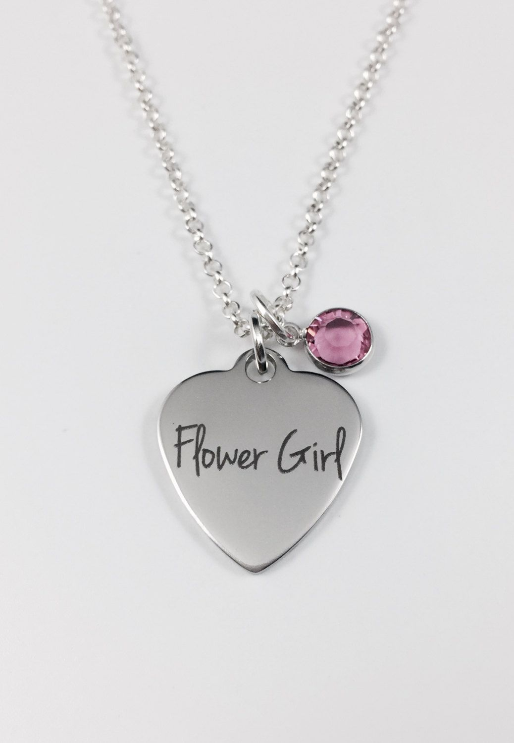 Flower girl heart necklace with swarovski crystal birthstone laser flower girl heart necklace with swarovski crystal birthstone laser engraved pendant stainless steel pendant aloadofball Gallery