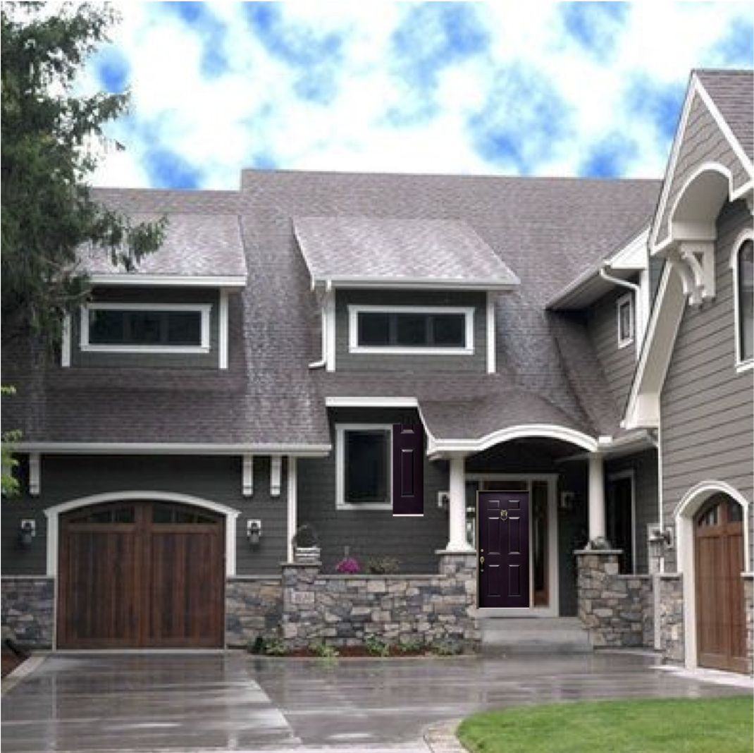 Exterior House Colors Dark Grey House With White Trim Wooden Looking Garage Door And A Dark
