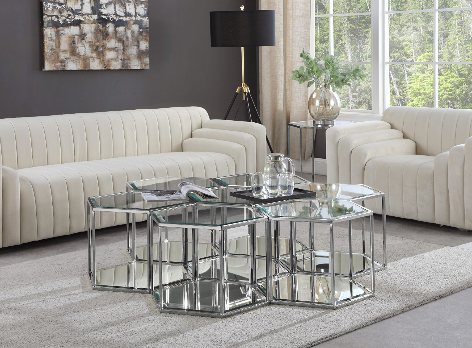 Sei 7 Silver Coffee Table 206 Ct 7pc Meridian Furniture Coffee Tables Coffee Table Modular Coffee Table Silver Living Room [ 1476 x 2000 Pixel ]