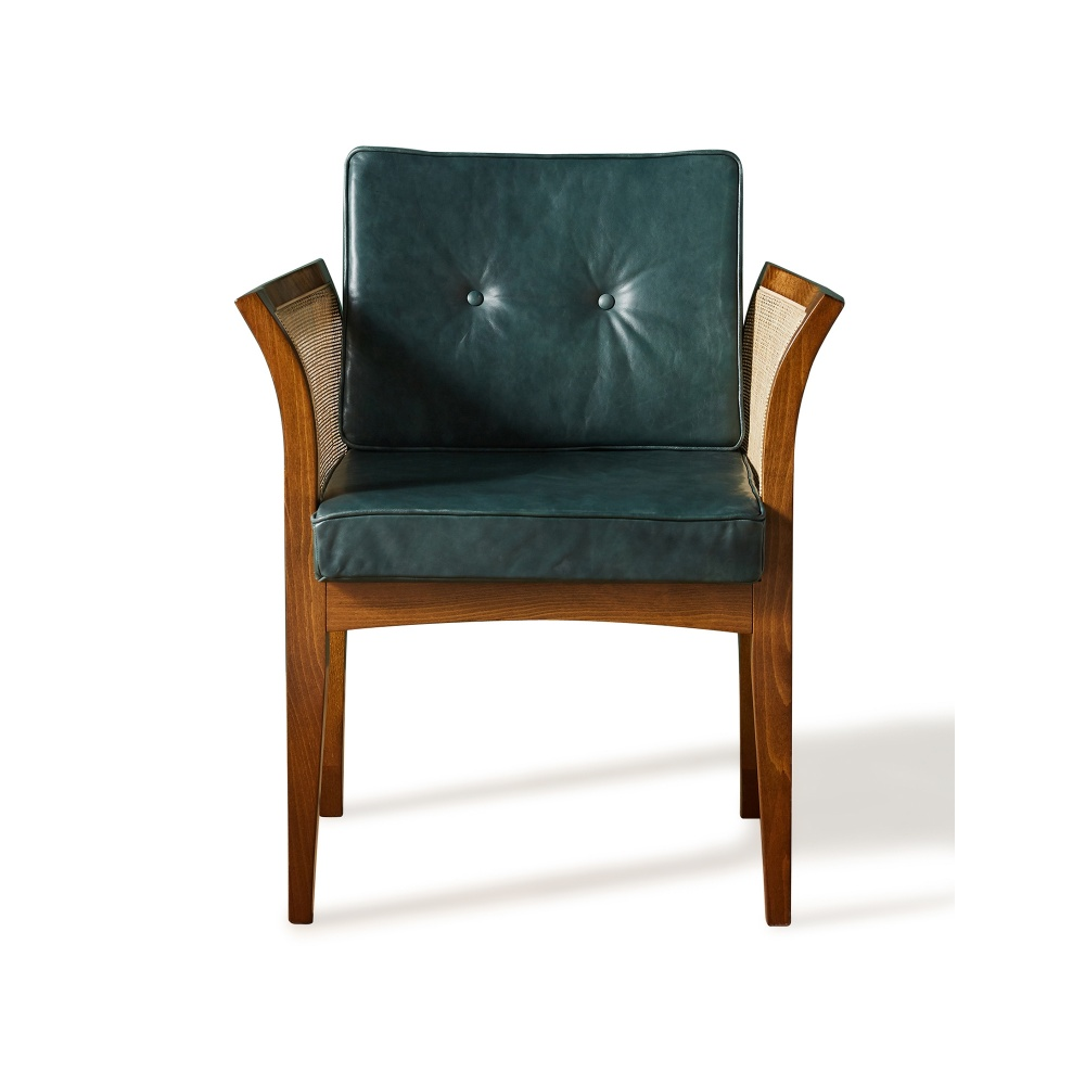 Soho Home X Anthropologie Willow Dining Chair Green Leather Leather Dining Chairs Dining Chairs Green Leather