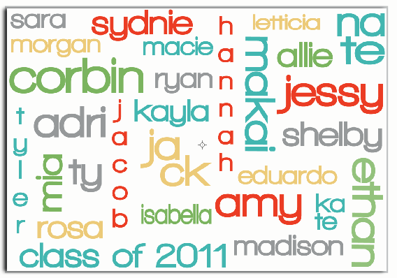 Add your class list to wordle.  Cute!
