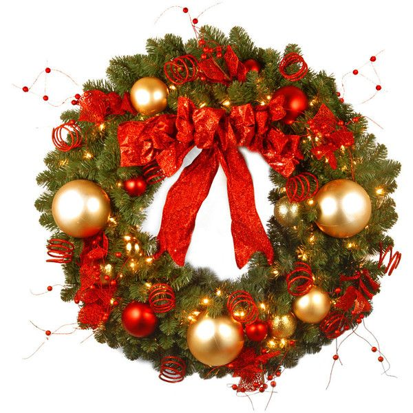 36In Decorative Collection Cozy Christmas Wreath With Red And Clear - christmas wreath decorations