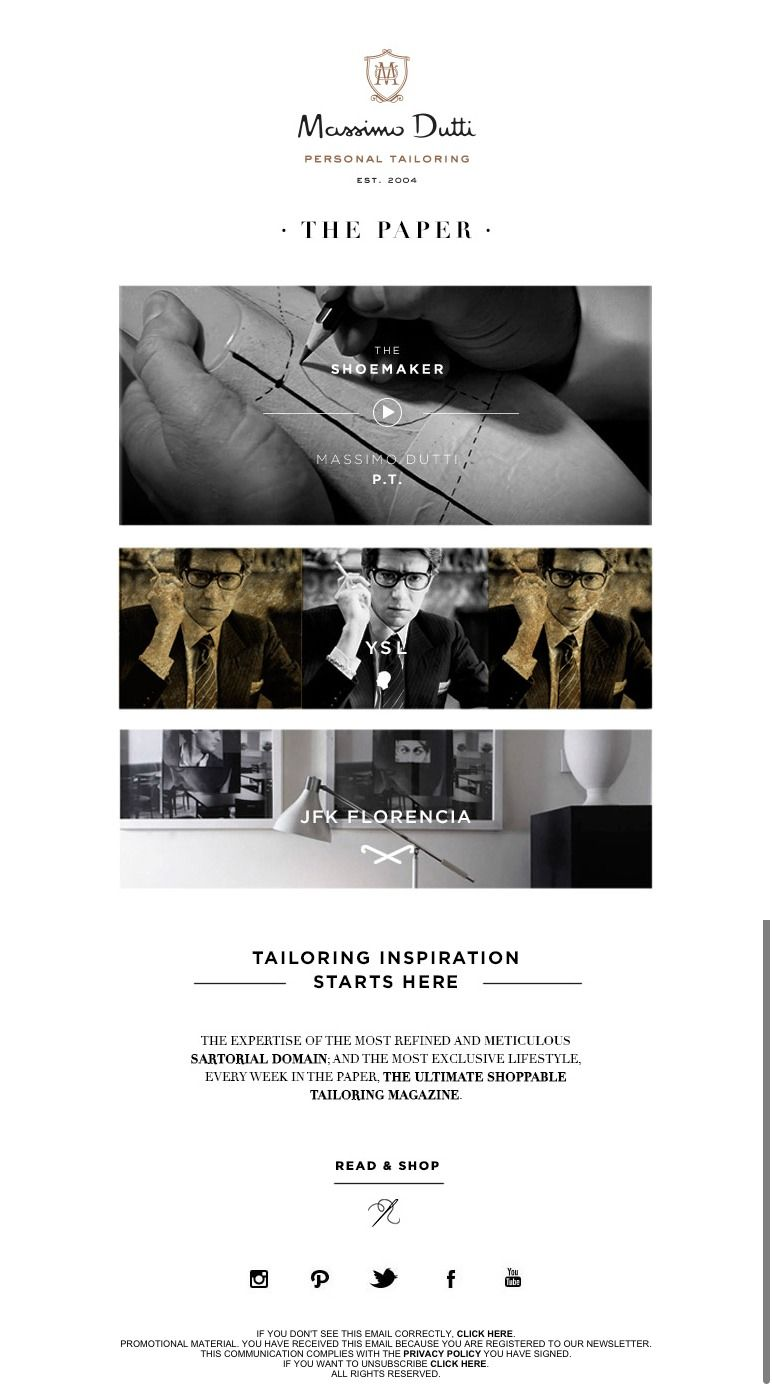 #digitalCampain #newsletter Massimo Dutti 11.2015 Personal Tailoring: The Paper #3 | The Shoemakers
