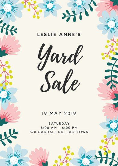 Floral Border Yard Sale Flyer  Plants    Yard Sale