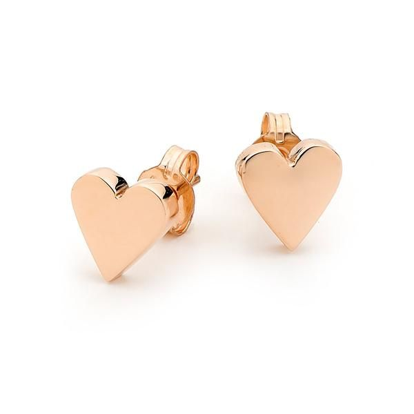 Solid 9kt Rose Gold Baby Heart Stud Earrings A Little Symbol Of