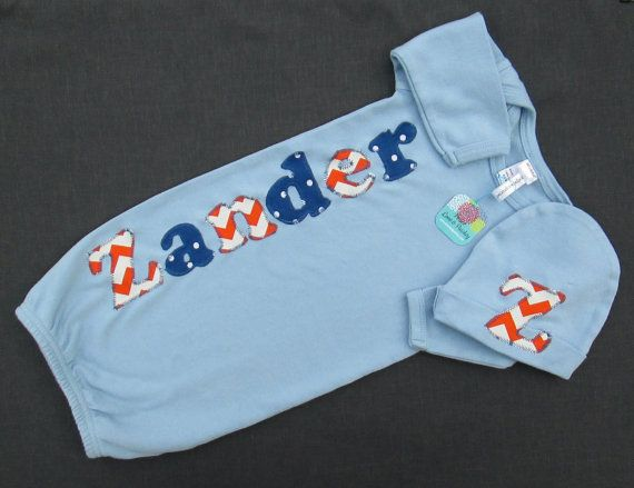 Personalized Baby Gown, Going Home Outfit, Monogrammed Baby Gown, Personalized Gown, Baby Shower Gift, Blue Baby Gown, Blue and Orange Baby