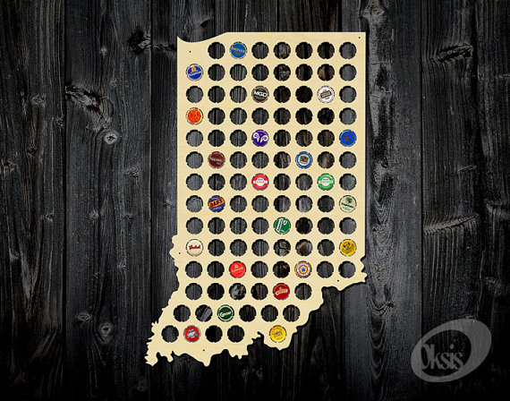 Indiana Beer Cap Map Made Of Birch Plywood Bottle Cap Holder - Indiana beer cap map