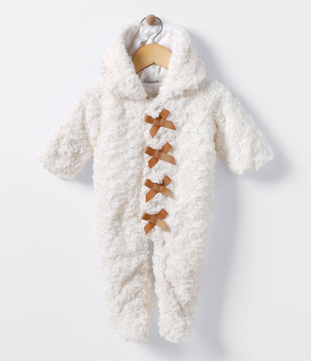 Macacão infantil Longo Com capuz Peludo Com laços aplicados Marca  Teddy  Boom Tecido  fleece 64d58a1cb10