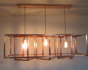 Modern Industrial Geometric Copper Hanging Chandelier Long