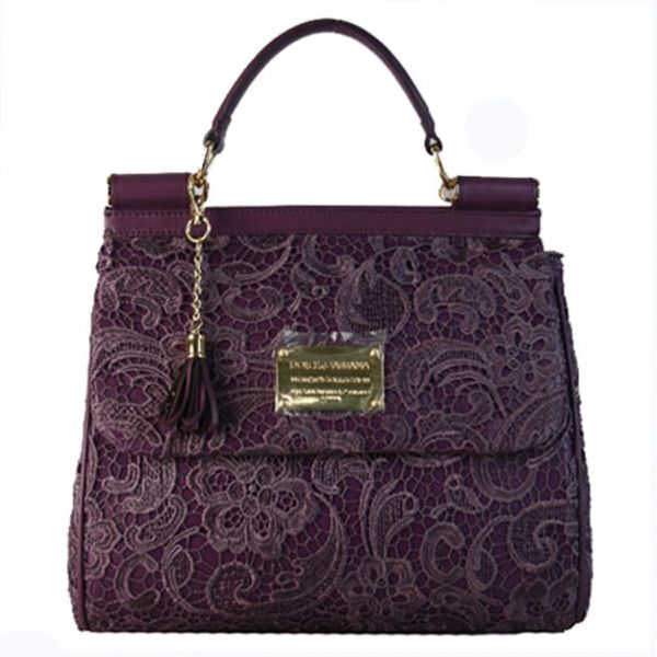 Dolce 'Miss Sicily Lace' Lambskin Leather Top Handle Satchel... ❤ liked on Polyvore