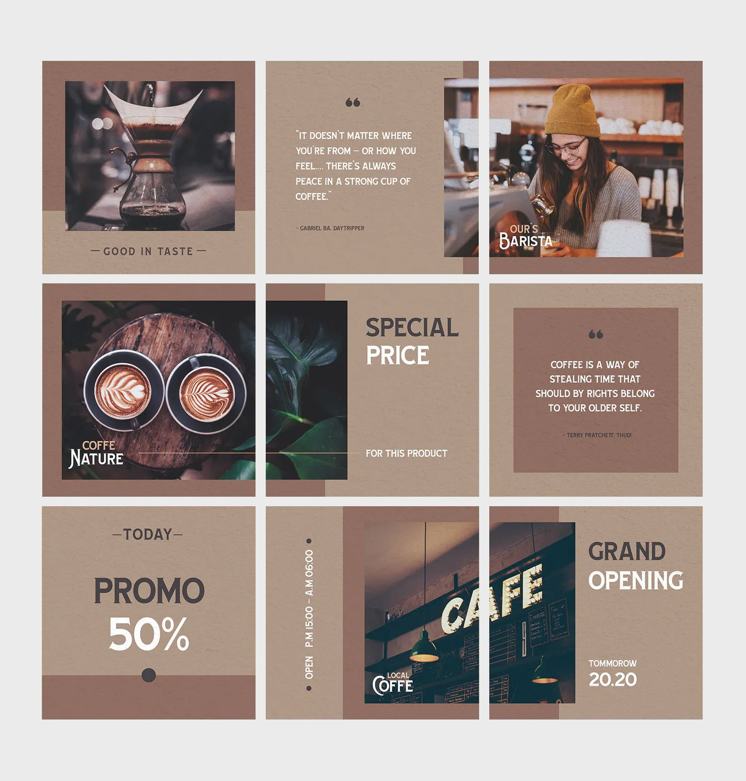 Coffee Shop Instagram Puzzle Template   Instagram feed layout ...
