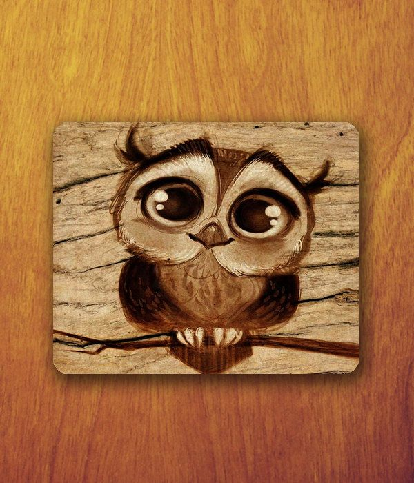 Baby owl cartoon drawing mouse pad cute animal big eyes for Cartoon owl sketch