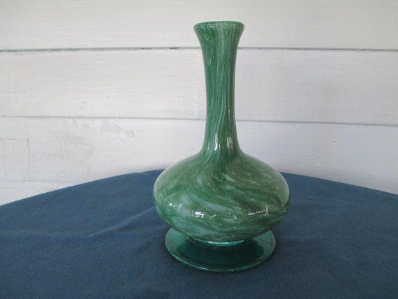 Vintage Green Splatter Blown Art Glass Pedestal Vase by BitofHope