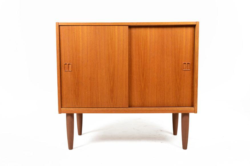 Small Danish Credenza : Danish modern mid century small sliding door teak cupboard