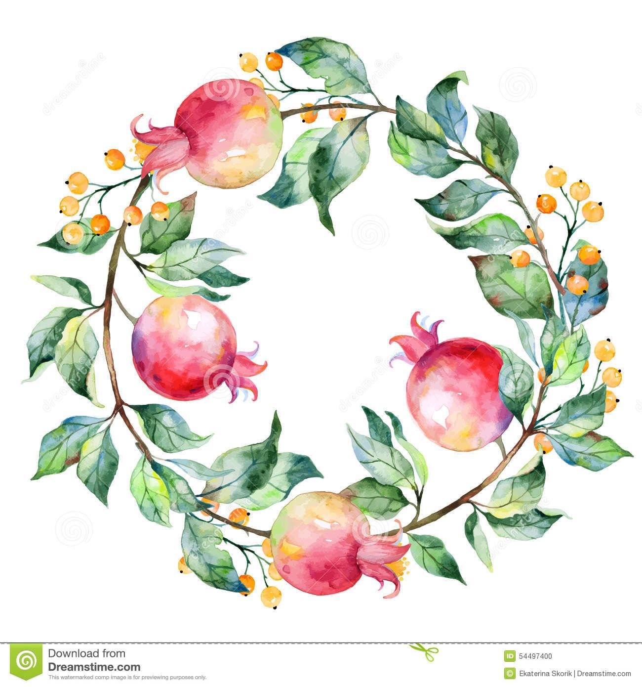 Vector Round Frame Of Watercolor Pomegranate And Berries